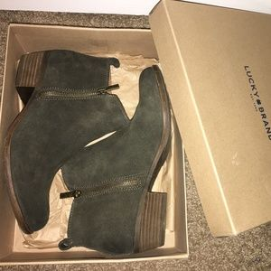 """Lucky Brand """"Basel"""" booties in olive green"""
